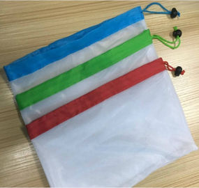 20D / 50D Polyester Mesh Sayuran Storage Bags, Reusable Mesh Net Bag Drawstrings